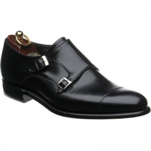 Herring Attlee double monk shoes in Black Calf