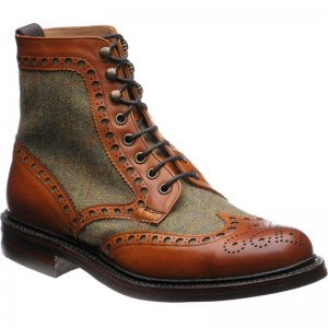 Herring Exmoor tweed brogue boot in Moorland Green Tweed and Chestnut Calf