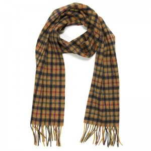Herring Blue Camel Check Scarf
