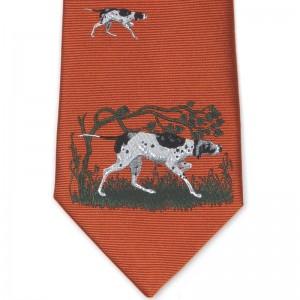 Herring Dog Scene Tie in Orange