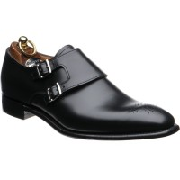 Herring Blair II double monk shoes in Black Calf
