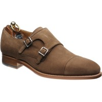 Herring Ickford double monk shoes in Tabacco Suede