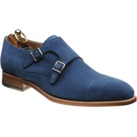 Herring Ickford double monk shoes in Blue Suede