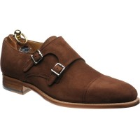 Herring Ickford double monk shoes in Snuff Suede