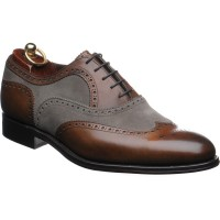 Herring Fencote two-tone brogue in Mahogany Calf and Grey suede