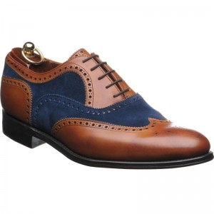 Herring Fencote two-tone brogue in Chestnut calf and Navy suede