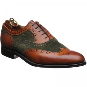 Herring Fencote two-tone brogue in Chestnut Calf and Green Suede