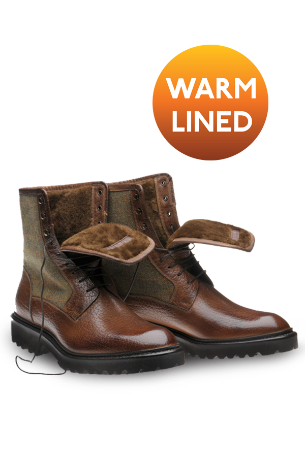 Warm lined winter tweed boot