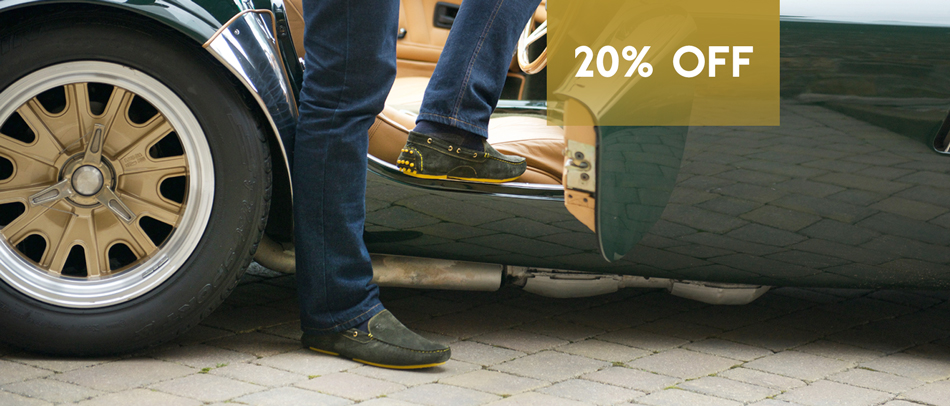 20% off our driving moccasins this April