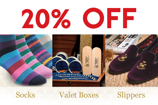 20% off Herring slippers, valet boxes and socks